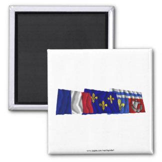 Hauts-de-Seine, Île-de-France & France flags Square Magnet