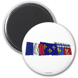 Hauts-de-Seine Île-de-France France flags Magnet