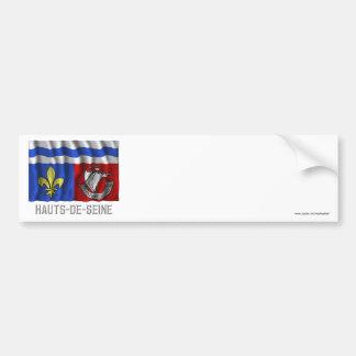 Hauts-de-Seine waving flag with name Bumper Sticker