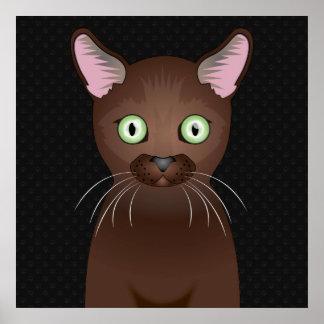 Havana Brown Cat Cartoon Paws Print