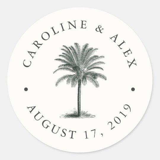 Havana Palm Wedding Round Sticker