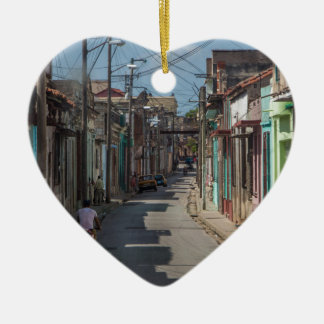 Havana streets ceramic heart decoration