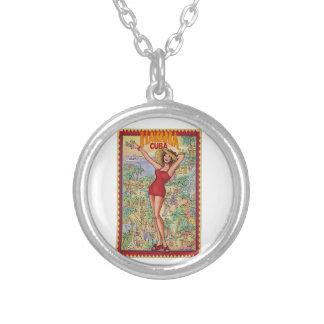 Havana woman: Vintage Cuban Havana Round Pendant Necklace