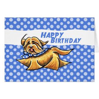 Havanese Blue Polka Dots Birthday Card