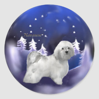 Havanese Christmas Gifts Classic Round Sticker