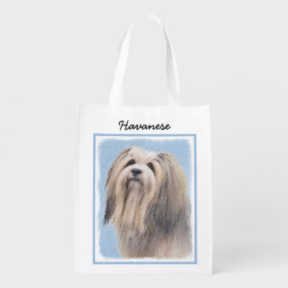 Havanese (Long Hair) Reusable Grocery Bag