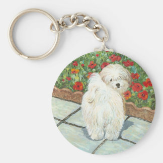 Havanese n Poppies Art Print Gifts & Cards Key Ring