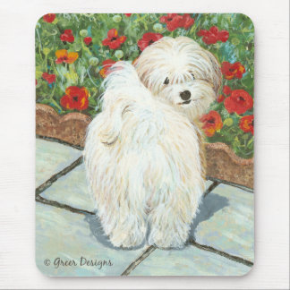Havanese n Poppies Art Print Gifts & Cards Mouse Mat