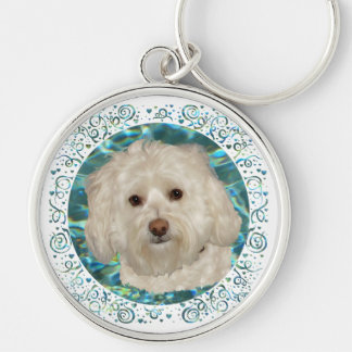 Havanese on Turquoise Water Key Ring