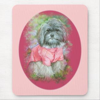 Havanese Pink Coat Art Portrait Mouse Mat