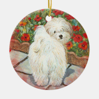 Havanese & Poppies Christmas Ornament