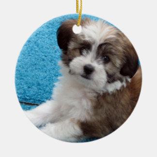 Havanese Rescue Puppy Round Ceramic Decoration