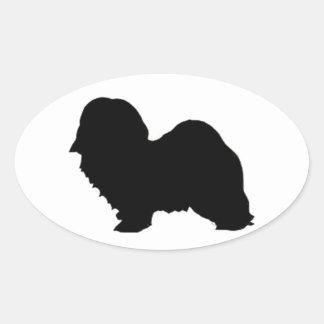 havanese silhouette oval sticker