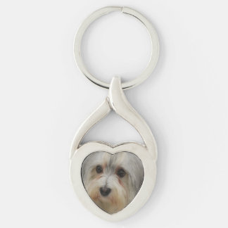 Havanese Silver-Colored Twisted Heart Key Ring