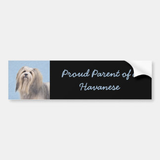 Havanese (Silver) Painting - Cute Original Dog Art Bumper Sticker