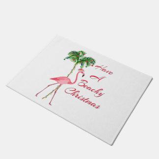 Have A Beachy Christmas Flamingo Doormat