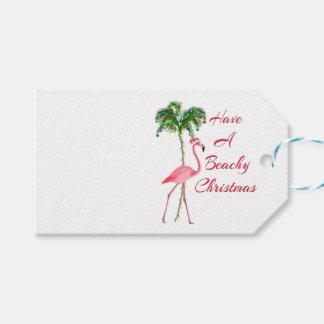 Have A Beachy Christmas Flamingo Gift Tags