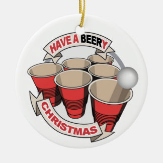 Have a Beery Christmas Beer Pong w poem. Christmas Ornament