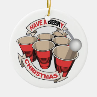 Have a Beery Christmas with Alcohol background Round Ceramic Decoration