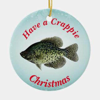"""Have a Crappie Christmas"" featuring black crappie Christmas Ornament"
