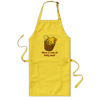 Have a cup of kitty tea? long apron