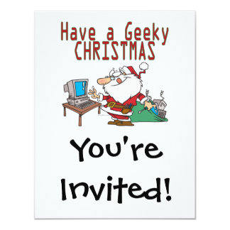have a geeky christmas santa computer tech personalized invitations