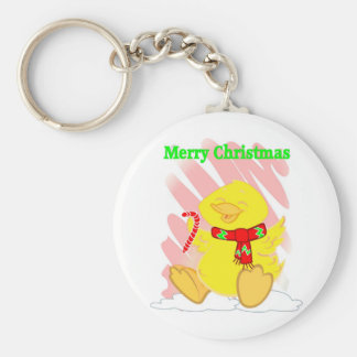 Have a Happy Duck Merry Christmas Basic Round Button Key Ring