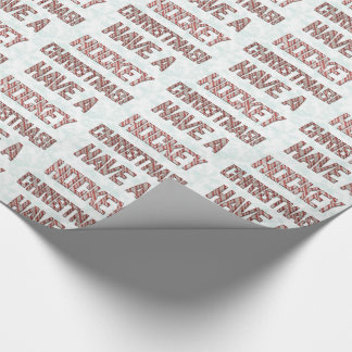 Have A Hockey Christmas Candy Cane Wrapping Paper