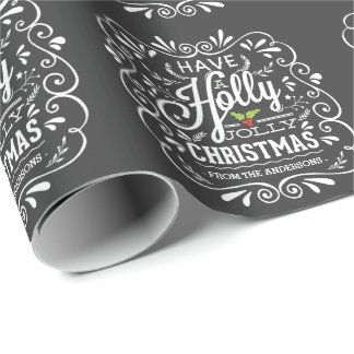 Have A Holly Jolly Christmas Chalkboard Holiday Wrapping Paper