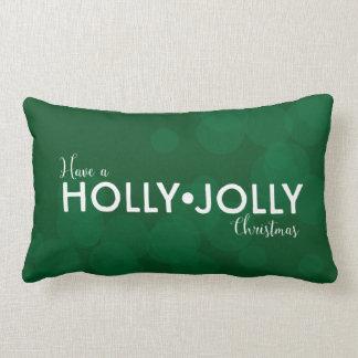 Have a Holly • Jolly Christmas   dark green bokeh Throw Cushions