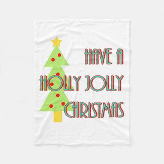 have a holly jolly christmas mid century modern fleece blanket