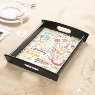 Have A Holly Jolly Christmas Retro Design Serving Trays