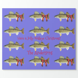 """""""Have a Jolly Walleye Christmas"""" Walleye Pike Wrapping Paper"""