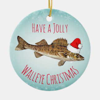 """Have a Jolly Walleye Christmas"" With Santa Hat Christmas Ornament"