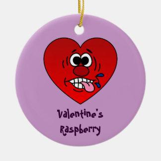 Have a Juicy Raspberry for Valentine's Round Ceramic Decoration