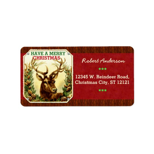 Have a Merry Christmas Reindeer Personalised Label
