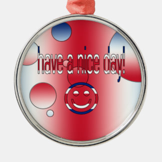 Have a Nice Day! Britain Flag Colors Pop Art Ornament