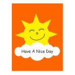 Have A Nice Day happy cartoon sun orange postcard