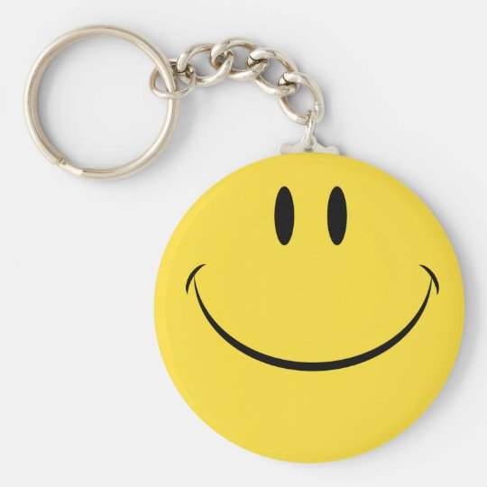 Have a nice day retro happy face keychain