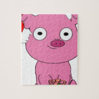 Have a pink pig vegan Christmas Jigsaw Puzzle