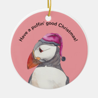 Have a puffin' good Christmas! ornament pink