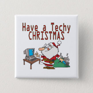 have a techy christmas computer geek santa 15 cm square badge