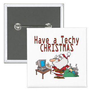 have a techy christmas computer geek santa 15 cm square badge