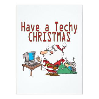 have a techy christmas computer geek santa 17 cm x 22 cm invitation card