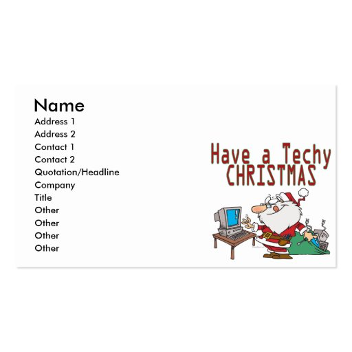 have a techy christmas computer geek santa business card template