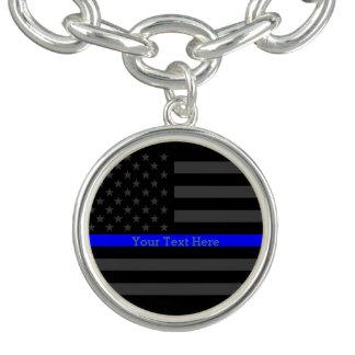 Have a Text Thin Blue Line Custom Grey US Flag