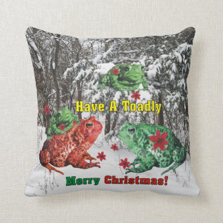 Have a Toadly Merry Christmas Throw Pillow
