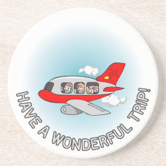 Have a wonderful trip! Airplane with passengers Beverage Coasters