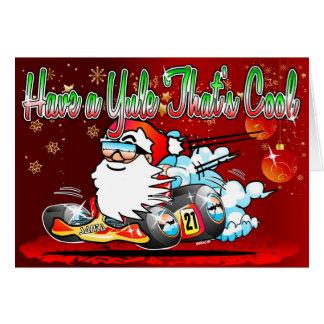 Have a Yule Thats Cool - Santa GoKart Cartoon Xmas Greeting Card