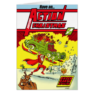 Have an Action Christmas! Superheroic Christmas Ca Card